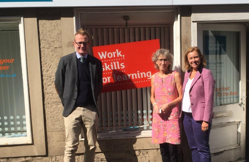 A photo of John Lamont MP, Rachael Hamilton MSP and Margot Crosbie, Area Manager for the South East Region
